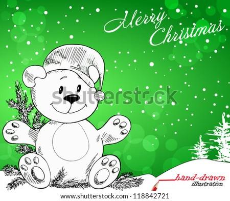 christmas toy bear - original hand-drawn illustration - stock vector