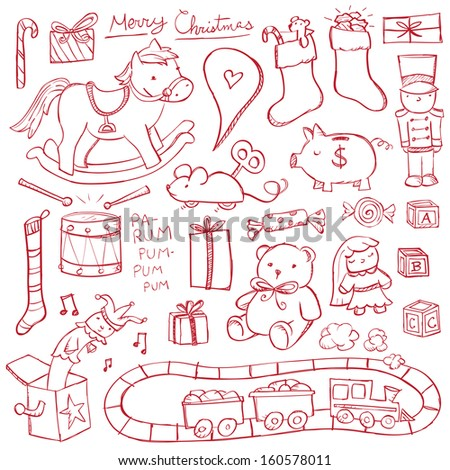 Christmas Toy Doodles - stock vector