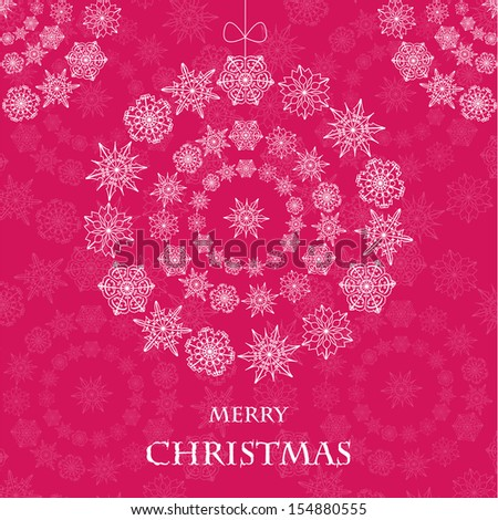christmas toy from snowflakes on a pink background.abstract christmas decoration.christmas background.vector - stock vector