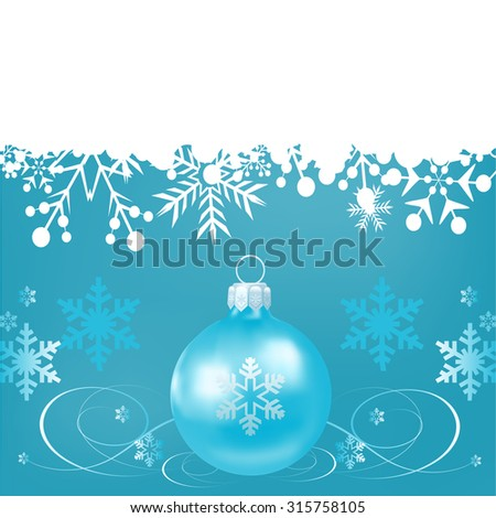Christmas toy on a blue background.  Snowflake Abstract. Christmas card. Christmas decoration. Holidays background. Blue wallpaper. Vector illustration