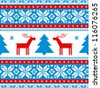 Christmas traditional pattern; knitted background with deers - stock vector
