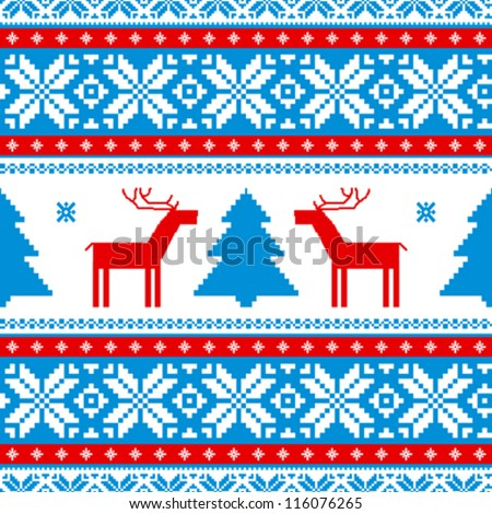 Christmas traditional pattern; knitted background with deers