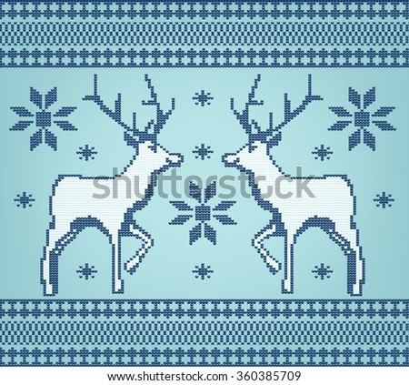 Christmas traditional pattern. Knitted background with deers