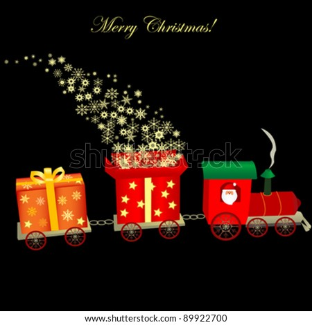 Christmas train with gifts illustration - stock vector
