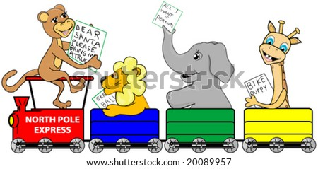 Christmas Train with zoo animals riding to the north pole with their lists for Santa Claus. - stock vector
