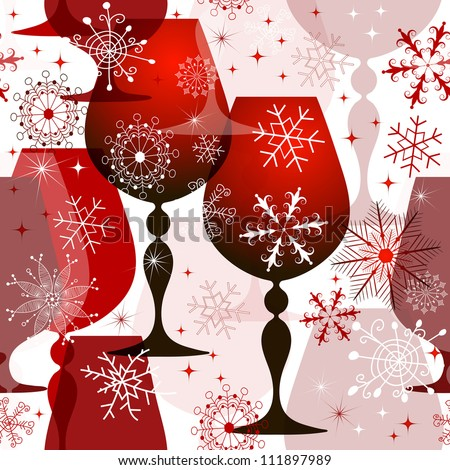 Christmas translucent seamless pattern with red wine glasses and filigree snowflakes. (vector EPS 10) - stock vector