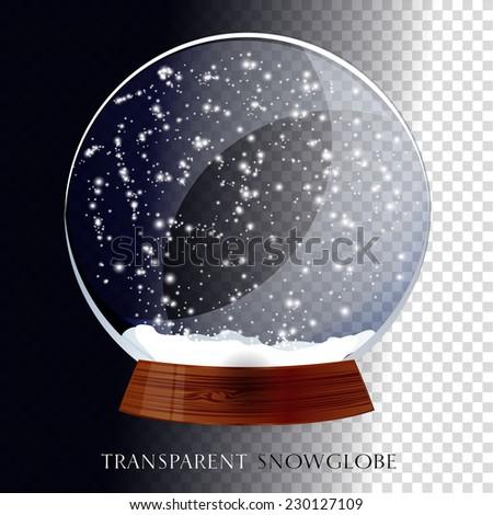 Christmas transparent snowglobe - stock vector