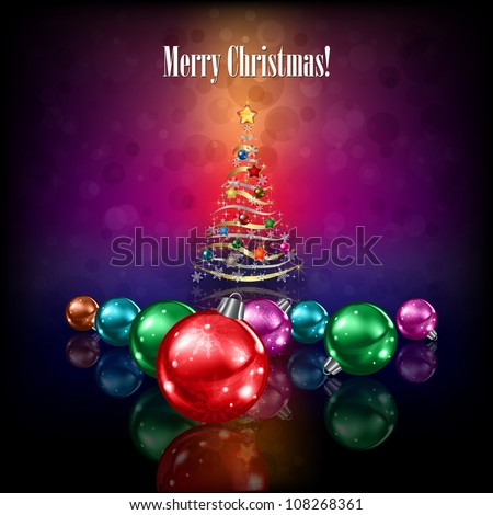 christmas tree and decorations on dark color background - stock vector