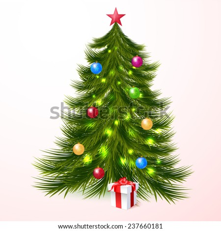 Christmas tree and gifts background - stock vector