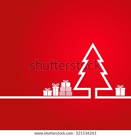 Christmas tree and gifts on  background - stock vector