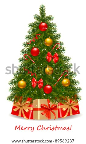 Christmas tree and gifts. Vector illustration. - stock vector