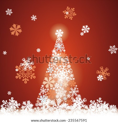 Christmas tree and Happy New Year on red background, falling snowflakes, abstract beautiful card as design element - stock vector