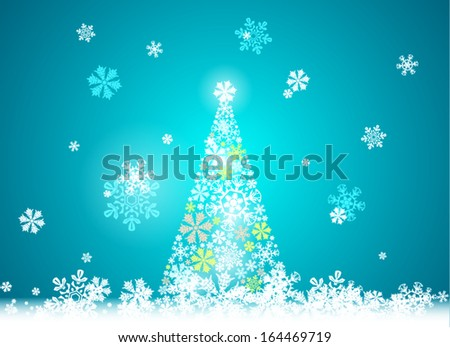 Christmas tree and Happy New Year, the snowy ground, falling snowflakes, abstract beautiful card as design element - stock vector