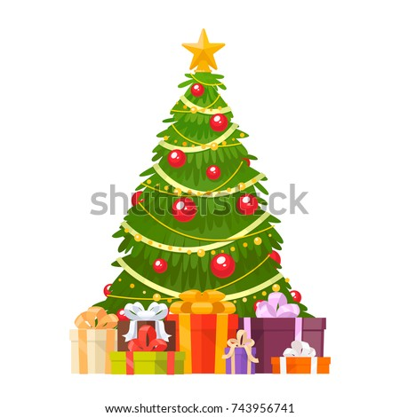 Christmas tree and holiday gifts. Fir-tree decorated with a star, balls and garlands. Vector illustration in a flat style