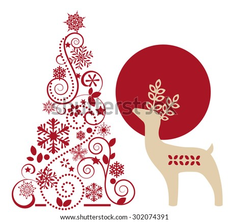 Christmas tree and reindeer  - stock vector