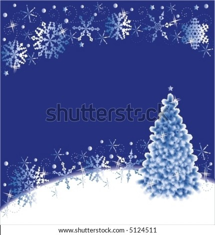 Christmas tree and snowflakes background, blue and white ( for high res JPEG or TIFF see image 5333266 )