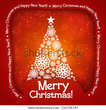 Christmas tree applique background. Vector illustration for your design. - stock vector