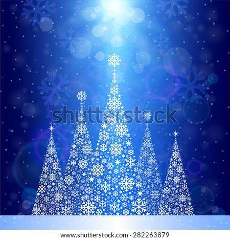 Christmas Tree Background, snowflakes. - stock vector