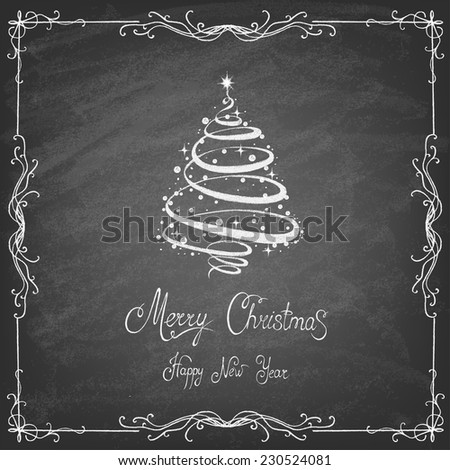 Christmas Tree Background, Trendy Design Template on blackboard. Vector illustration. - stock vector