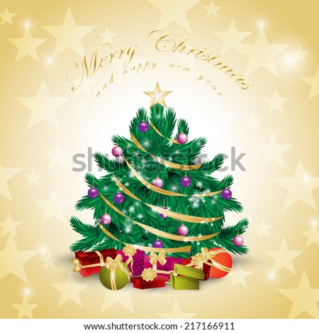 Christmas Tree Background - Vector Illustration, Graphic Design Editable For Your Design - stock vector