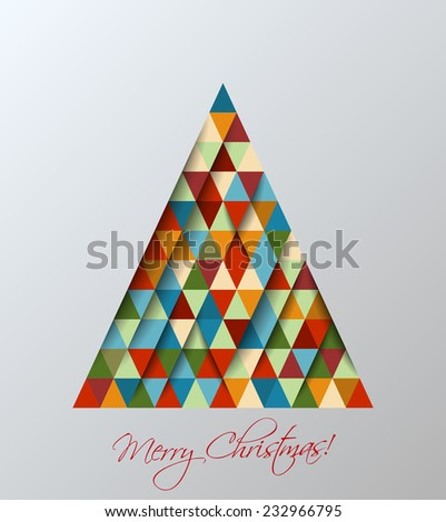 Christmas tree background. Vector illustration of a christmas tree made with triangles with retro color scheme for card design. - stock vector