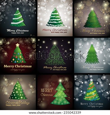Christmas Tree Backgrounds - Vector Illustration, Graphic Design Editable For Your Design   - stock vector