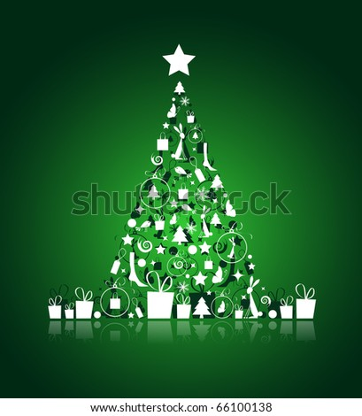 Christmas tree beautiful for your design - stock vector