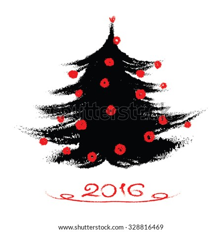 Christmas tree black ink painting. Hand drawn Merry Christmas vector illustration. Abstract ink paint - black and red brush strokes. Grunge watercolor texture. Isolated on white. Eps 10. - stock vector