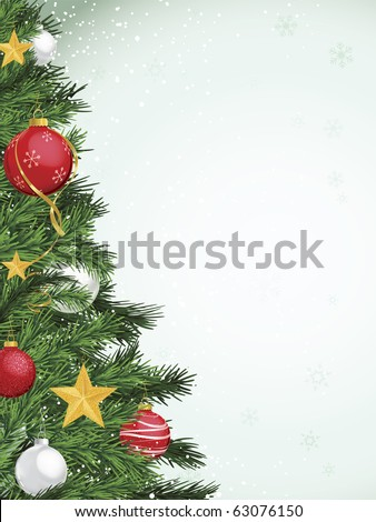 Christmas tree border design with yellow gold silver and red ornaments - stock vector