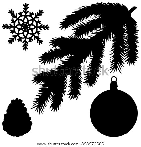 Christmas tree branch, ball, snowflake, cone black silhouette. Pine, fir, spruce, isolated on white background - stock vector