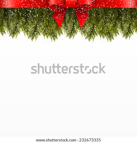 Christmas tree branch decorated with red bow - stock vector
