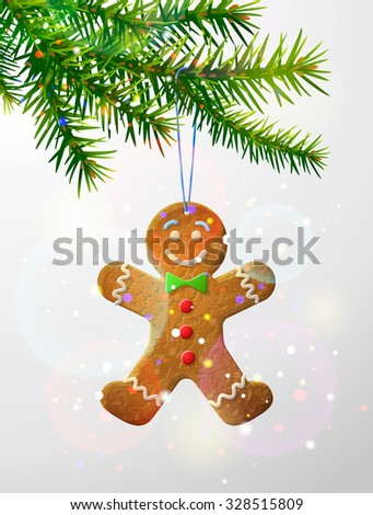 Christmas tree branch with decorative cookie. Gingerbread man hanging on pine twig. Vector illustration for christmas, new year's day, winter holiday, design, new year's eve, silvester, etc
