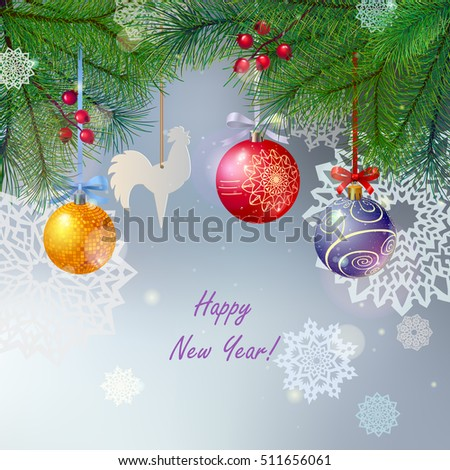 christmas tree branches, beautiful balls and paper snowflakes, festive winter background