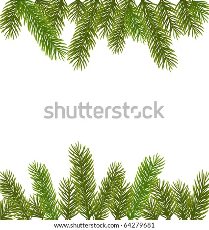 Christmas tree branches border over white - stock vector