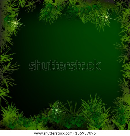 Christmas tree branches vector background - stock vector