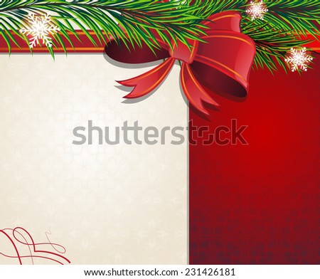 Christmas tree branches with bow and ribbon on a retro style background - stock vector