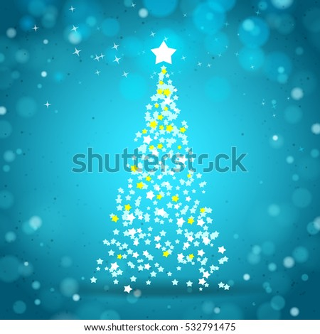 Christmas tree by stars with turquoise background