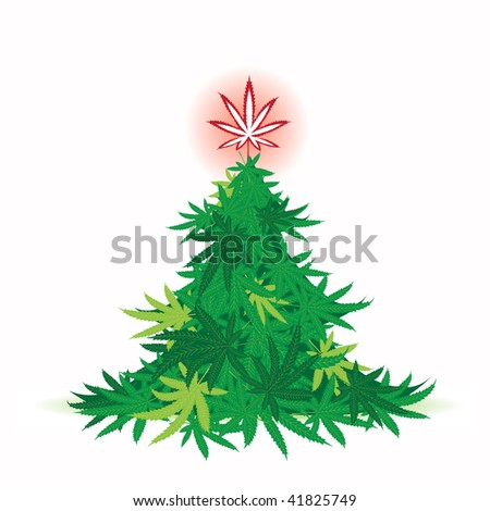 Christmas tree, cannabis leaf - stock vector
