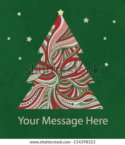 Christmas tree card - stock vector