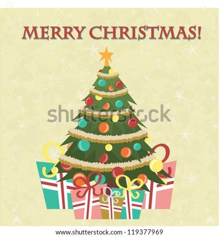 Christmas Tree Card - stock vector