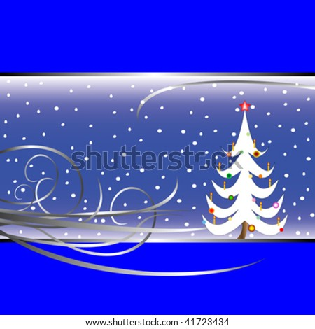christmas tree card on blue background, vector art illustration