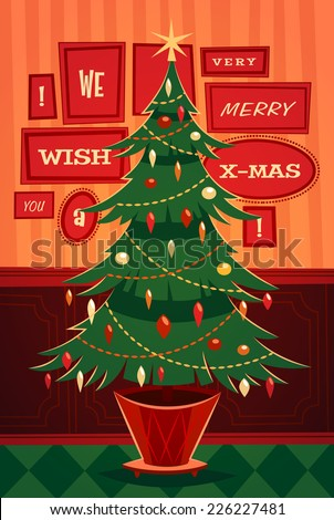 Christmas tree. Card \ poster \ banner. Vector illustration. - stock vector