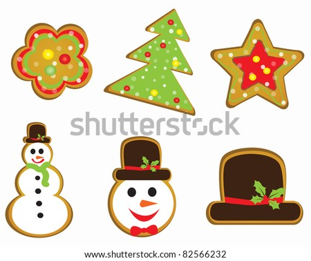 Christmas tree card with snowman cookies - stock vector