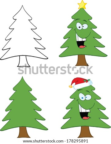Christmas Tree Cartoon Character. Set Vector Collection - stock vector