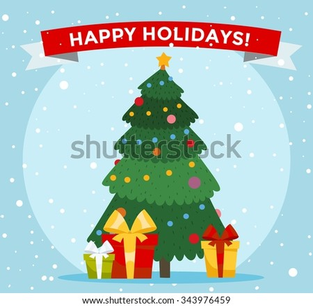 Christmas tree cartoon vector illustration. Christmas tree background. Christmas tree traditional greeting card. Christmas tree isolated on background. Christmas New Year card