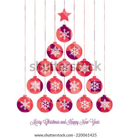 Christmas tree, christmas card - stock vector