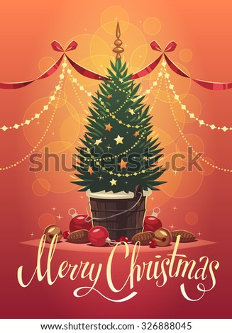 Christmas tree. Christmas greeting card \ background \ poster. Vector illustration. - stock vector