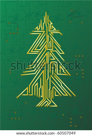 Christmas Tree Circuit - IT celebration concept - stock vector