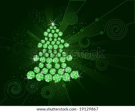 Christmas tree collected from the green shining diamond on a dark background with luminous bright spray