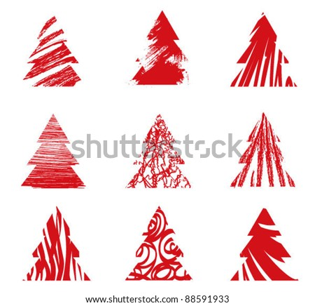 Christmas tree collection.  9 red hand-drawn silhouettes of Christmas tree - stock vector